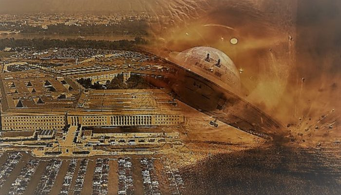 A picture of the Pentagon blended into a crashed UFO
