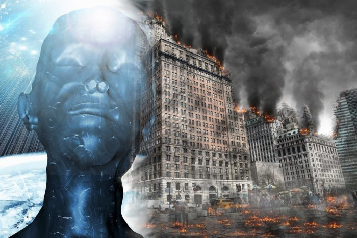 A futuristic head blended into an image of doomsday
