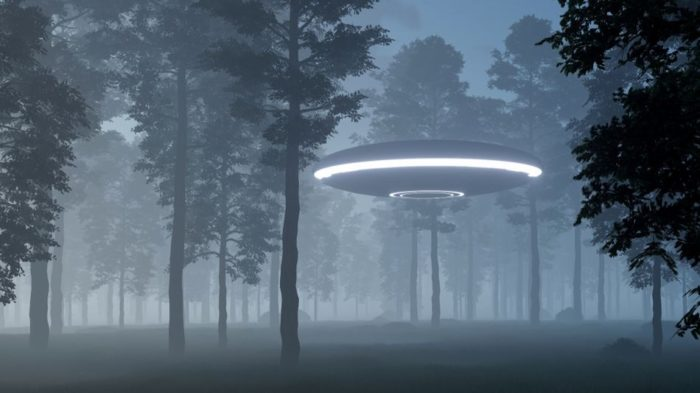 A depiction of a UFO landing in woodland