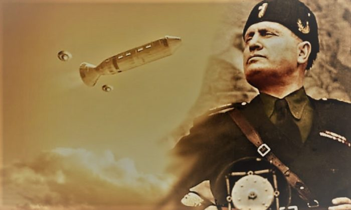 A depiction of a UFO blended into an image of Mussolini