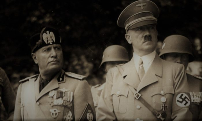 A picture of Mussolini and Hitler