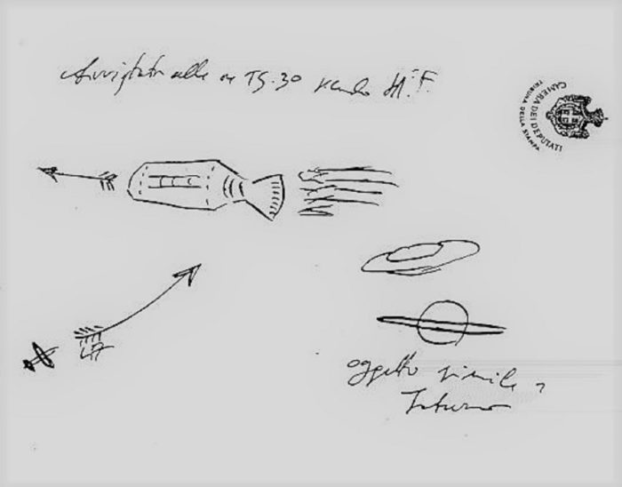 A witness sketch of the 1936 sighting