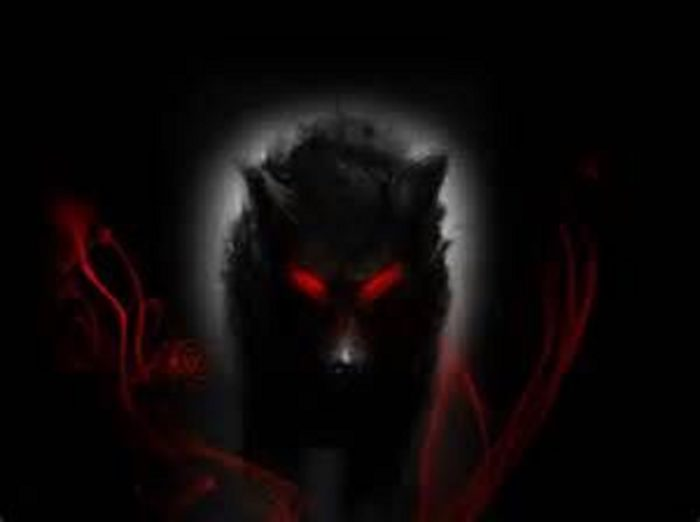 A depiction of demonic dog with glowing red eyes