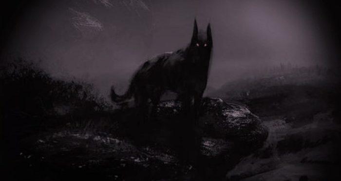 A depiction of a black demonic dog