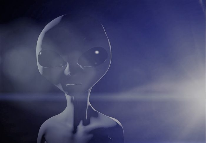 A depiction of a typical grey alien