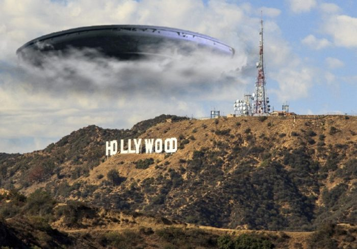 A UFO superimposed onto a picture of the Hollywood sign