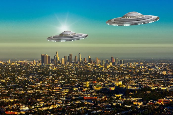 Two superimposed UFOs over Los Angeles
