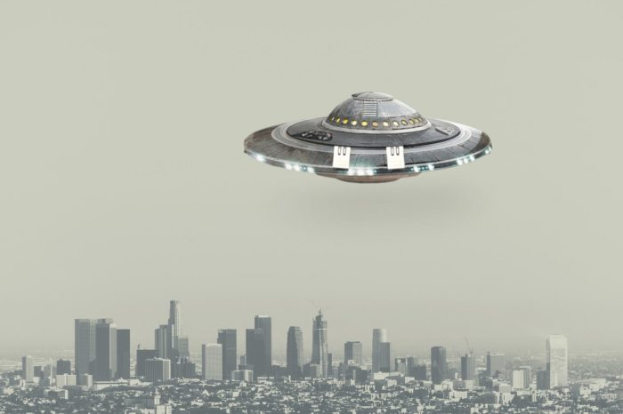 A UFO superimposed onto a picture of downtown Los Angeles