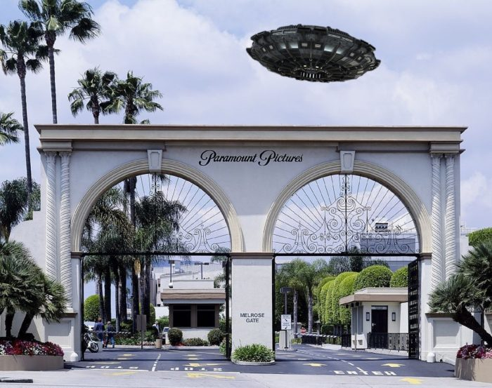 A superimposed UFO over a picture of the entrance to Paramount Pictures