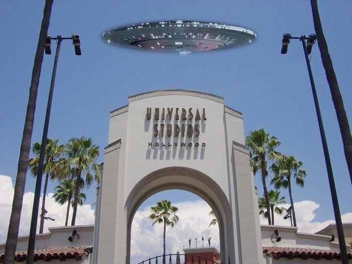 A UFO superimposed onto a picture of the entrance to Universal Studios