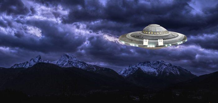 A UFO superimposed on a night sky