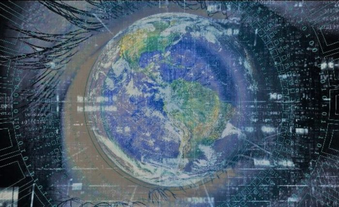 A picture of the Earth superimposed over a digital eye