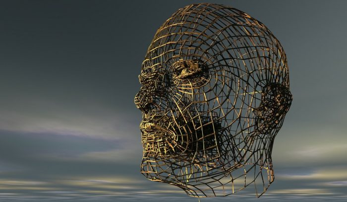 A grey sky with a face shaped from wicker wire