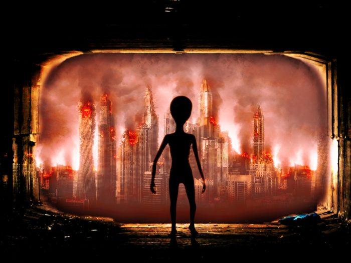 Depiction of an alien invasion