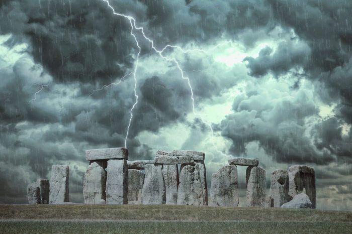 A depiction of Stonehenge with lightning overhead