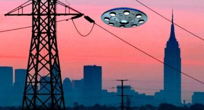 A superimposed UFO over a picture of power lines