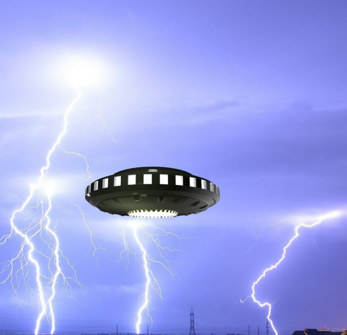 A superimposed UFO on an image of lightning in the sky