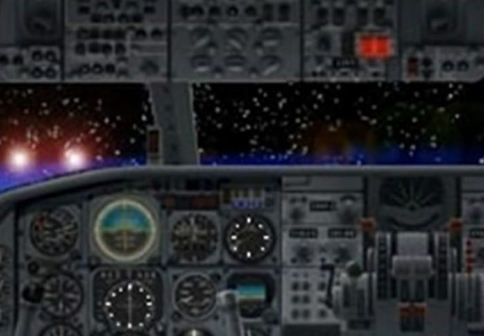 Depiction of a cockpit view of two strange lights approaching the plane