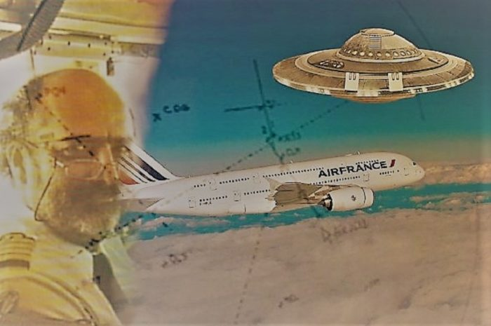 A picture of Jean-Charles Duboc blended into an image of an Air France jet with a superimposed UFO over the top
