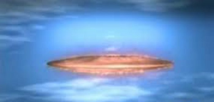 a depiction of an orange glowing UFO in a cloudy sky