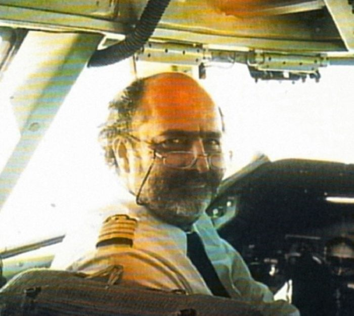 Jean-Charles Duboc in the cockpit of a jumbo jet