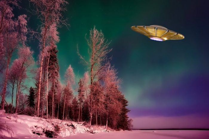 A superimposed UFO over an icy lakeside