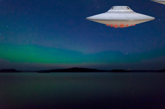 A superimposed UFO over a picture of Lake Anten