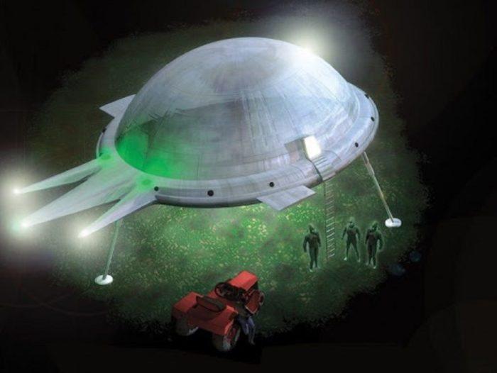 A depiction of the UFO encounter of Antonio Villas Boas