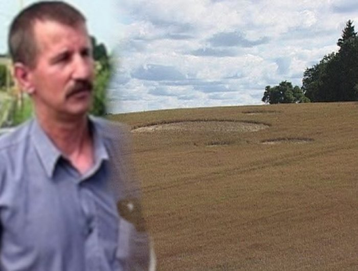 Lech Chacinski blended into a picture of a wheat field