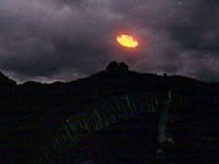 Picture showing an alleged orange UFO