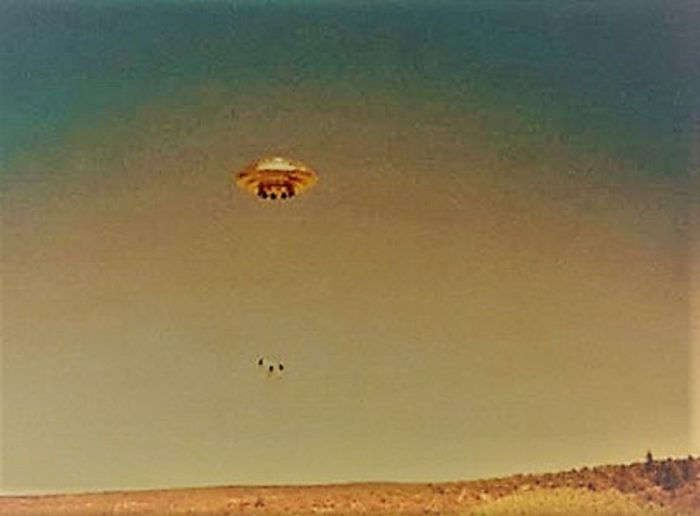 A picture showing an alleged UFO
