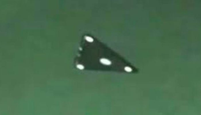 Close-up picture of an alleged black triangle UFO