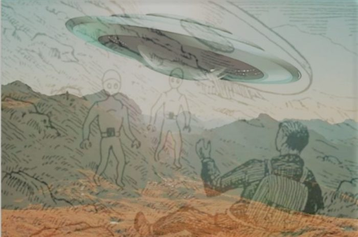 A depiction of the incident with a UFO superimposed over the top