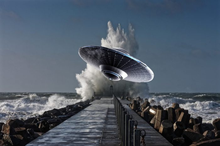 A superimposed UFO onto a picture of a dock with splashing water