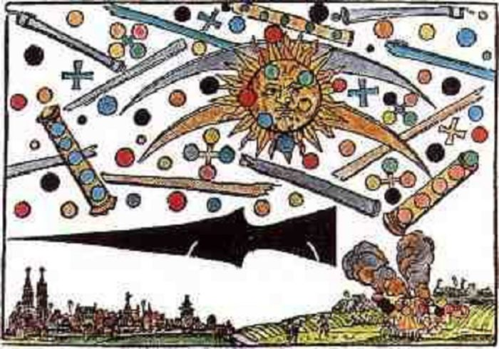 A depiction of the strange objects over Nuremberg in 1561