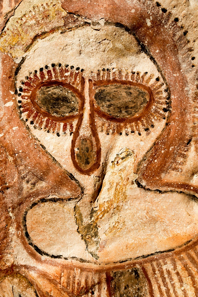 A close-up of the strange beings painted onto the cave walls