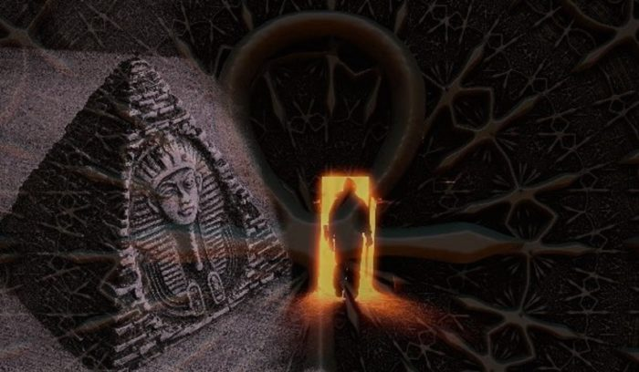 A blended image of a pyramid to a person walking through a strange doorway