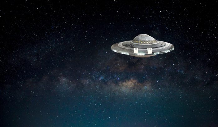 An image of a UFO in space