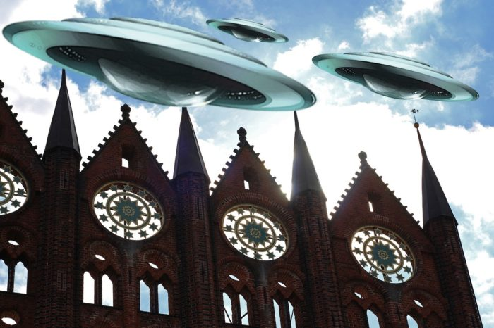 Superimposed UFOs over an image of German church