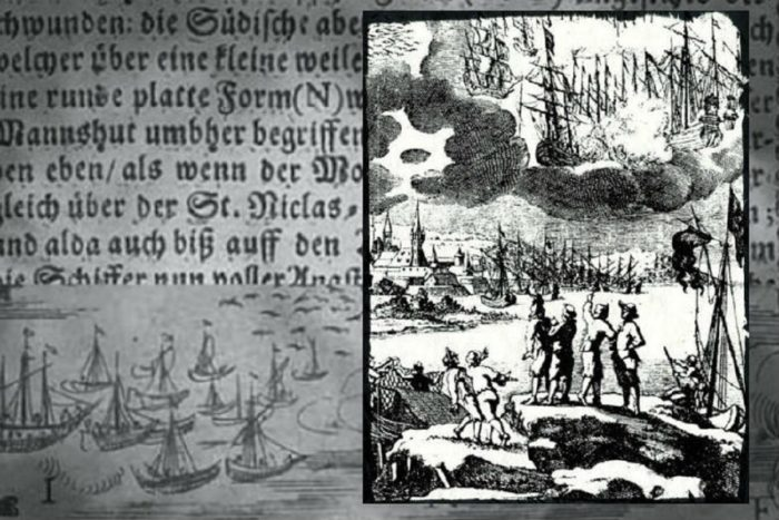 """A depiction from the 1600s of """"ships"""" in the sky"""