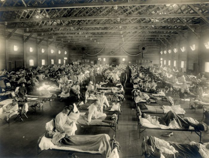 One of the many makeshift hospitals of the Spanish Flu