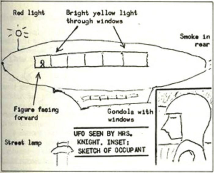 Witness sketch of the UFO and occupant