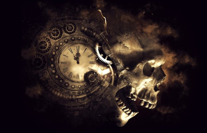 A picture of a clock blended into a skull