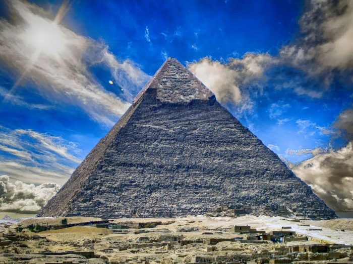 A close up of the Great Pyramid of Giza