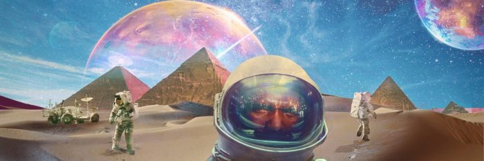 A depiction of astronauts on an alien world with pyramids