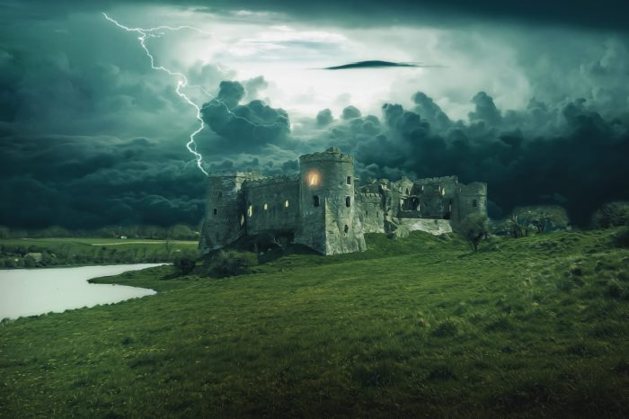 A depiction of an old castle during a stormy night
