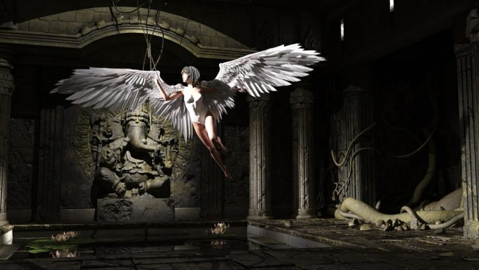 An image of an angel in an ancient room