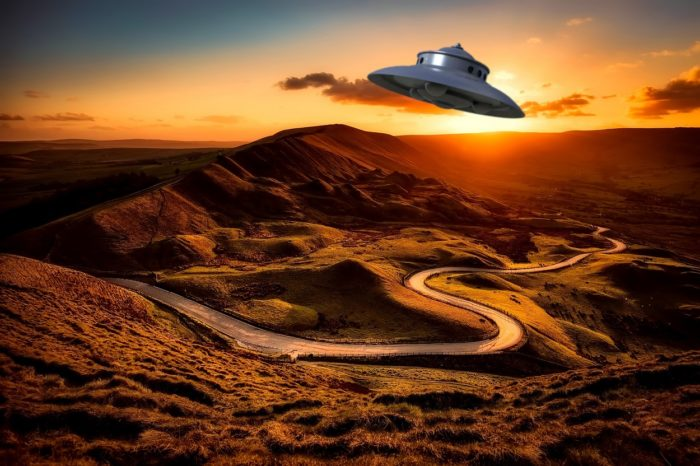 A UFO superimposed on to a dawn picture of the English countryside