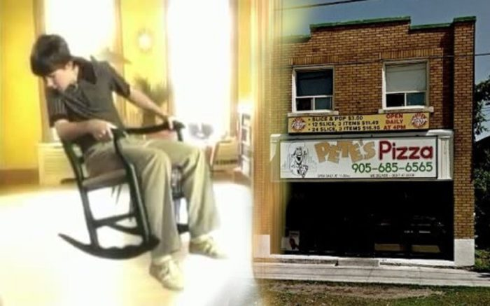 A picture of a boy in a chair that is floating blended with a picture of the property as it is today