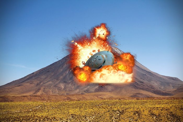 A picture depicting a UFO crashing in flames into a mountain